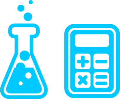 Icon of a beaker and calculator